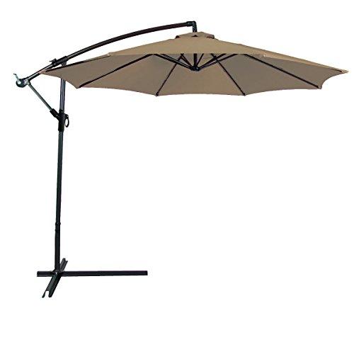 Odaof 10 ft Patio Umbrella Offset Hanging Umbrella Outdoor Market Umbrella Garden Umbrella, Polyester, Tan