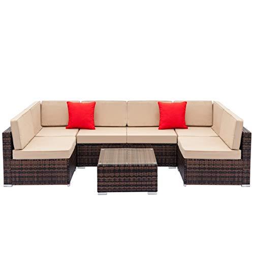 DZSWDTQ 7pcs Rattan Sofa Furniture (2pcs Corner Sofas+ 4pcs Sofas+1 pcs Coffee Table)