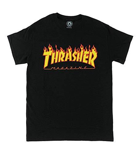 Thrasher Herren Trutsh05749 T-Shirt, Schwarz (Schwarz/Flammen), Small