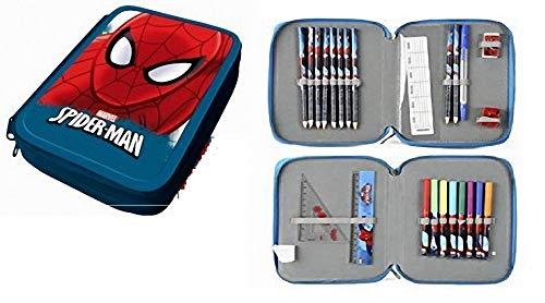 Vengadores Estuche PLUMIER Doble Spiderman 24 PZAS con Dos Pisos Y Dos Cremalleras