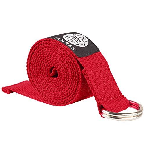 Yamkas Cinturon Yoga Correa | 1.8M - 3M | Correas Yoga Estiramiento | Yoga Strap Belt 100% Algodon | Rojo
