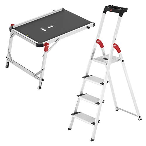 Hailo Leiter Set: Treppenpodest TP1 und 4 Stufen Alu-Sicherheits-Haushaltsleiter L80 ComfortLine EasyClix - 2-teiliges Leiter-Set für das Treppenhaus zum Vorteilspreis