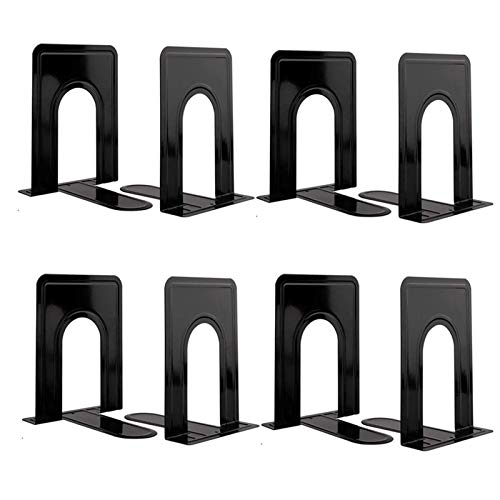 COLOGO Metal Book Ends for Shelves Book Shelf Holder Home Decorative Book Ends for Heavy Books/Movies/CDs Black 65 x 5 x 57 in 4 Pair/ 8 Piece