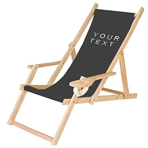 Ferocity Holz-Liegestuhl Klappbar Personalisiert Klappliegestuhl mit Armlehne und Getränkehalter Strandstuhl Motiv Bedrucken Schwarz, Deinen Text [119]