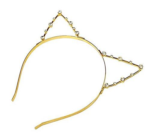 Sweet Fashion Crystal Rhinestone Metal Headwear Hair Wrap Cat Ear Headband Hair Band Hair Accessory for Ladies and Girls Gold by erioctry