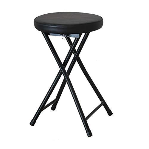 Tabouret Pliant Bureau à Domicile Simple Chaise Portable Tabouret Haut Petit Tabouret de Bar de Table à Manger (30 * 30 * 48cm (Couleur : Noir)