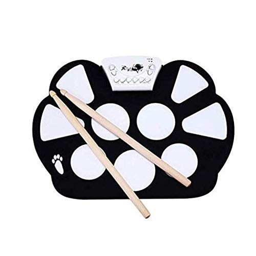 Elektronische Drum Set E-Drum Set, tragbare elektronische Drum Pad Eingebauter Lautsprecher Digital-Roll-Up-Touch-Pads Beschriftete und Fußpedale Elektronisches Schlagzeug Kit
