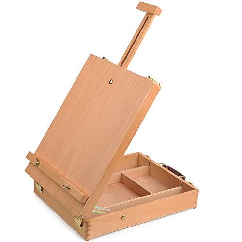 YANSHON Caja de Caballete de Madera, Caja de Caballete de Pintura de Madera de Haya, Caballete para Tubos de Pintura / Pinceles / Paleta de Pintura, Kit de Caballete de Mesa de Artista, Marrón Claro