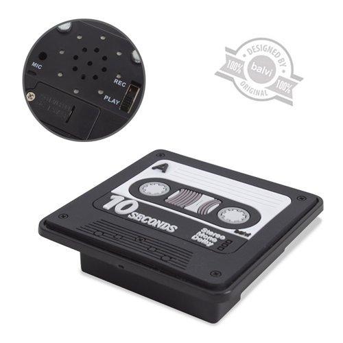 Balvi Grabadora Rec Color Negro Grabadora memo magnética Imanes Originales 6,5x6,5x2 cm