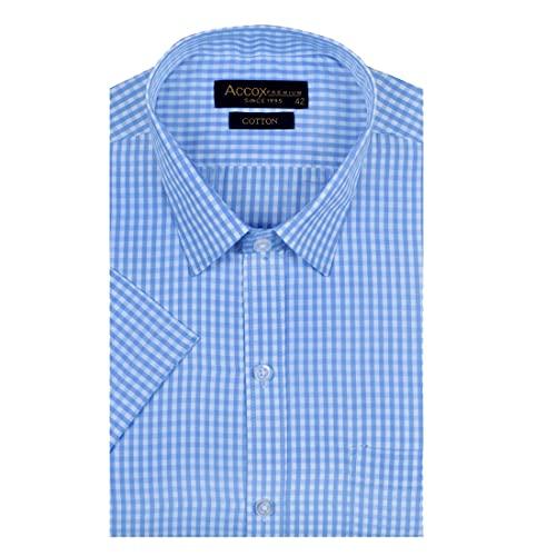 ACCOX Men's Half Sleeves Formal Regular Fit Cotton Check Shirt(Multi,GO543)