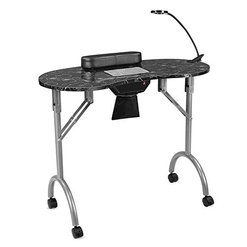 LUXEUP Portable Manicure Nail Table with Built-in Dust Collector | Fordable Nail Art Workstation with LED Table Lamp (Black)