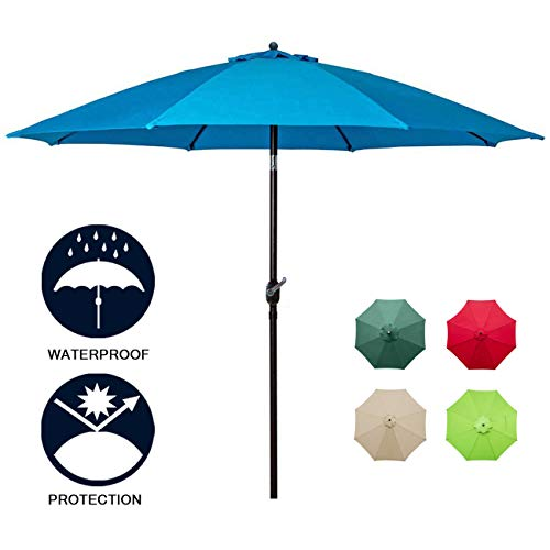Sunnyglade 9Ft Patio Umbrella Outdoor Table Umbrella with 8 Sturdy Ribs (Blue)