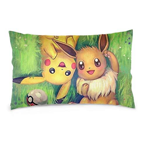 Po-ke-mon Pi-ka-chu and Ee-vee Pillow Covers Pillowcase Ultra Soft Pillow...