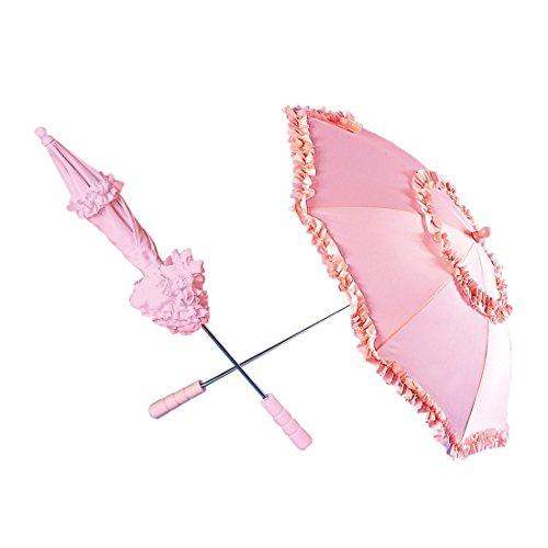 NET TOYS Parapluie Rose À Volants Ombrelle Romantique 72 cm Ombrelle Romantique Parapluie Femme Ombrelle Parapluie À Volants Mariage Accessoire