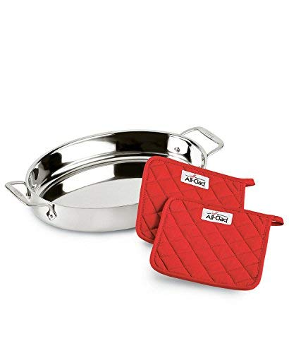 """All-Clad Stainless Steel 15"""" Oval Baker with Pot Holders"""