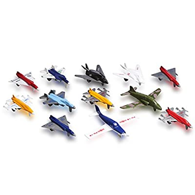Toy Airplane Made of Metal and Plastic Set of 12 Military Planes and Jets by SN INC.
