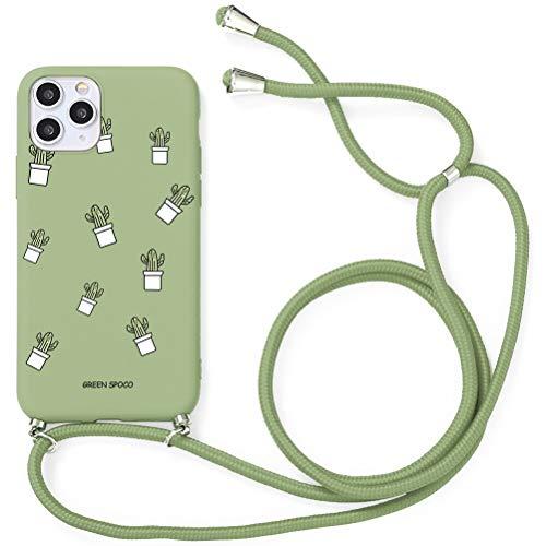 Yoedge Funda con Cuerda para Xiaomi Redmi 9T/Redmi 9 Power-6,53', Funda de Silicona AntiChoque Suave TPU para Teléfono Móvil con Colgante Ajustable Collar Correa para el Cuello Cadena Cuerda, Cactus