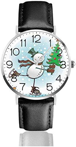 SBLB - Reloj de pulsera de cuarzo con diseño de muñeco de nieve con correa de cuero negro para mujeres, hombres, niños y niñas