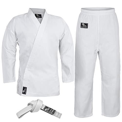 Hawk Sports Karate-Uniform für Kinder und Erwachsene, leicht, für Schüler, Karate-Gi, Kampfsport, Uniform mit Gürtel (weiß, 1 (4 Fuß 6 Zoll) / 40,8 kg)