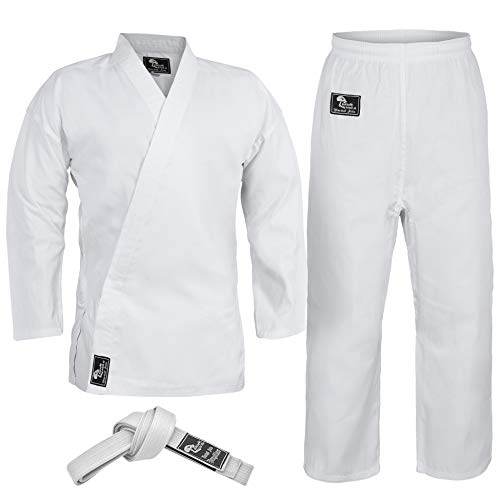 Hawk Sports Karate Uniform for Kids & Adults Lightweight Student Karate Gi Martial Arts Uniform Free Belt (White, 3 (5'3'' / 130lbs))