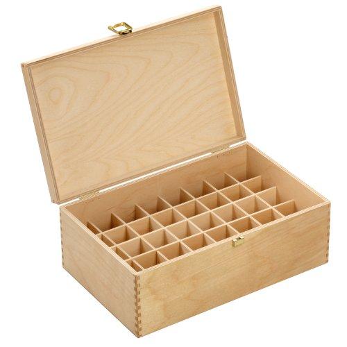 Holzbox aus hellem Birkenholz - für 40 Flaschen (30 ml) - Maße: 305 x 199 x 116 mm (BxTxH) - Lochdurchmesser: 33.5 mm, eckig *** Bachblütenbox, Aufbewahrung, Bachblüten, Essenzen, Flaschen, Apothekerflaschen, Tropferflaschen, Geschenk, Geschenkidee,