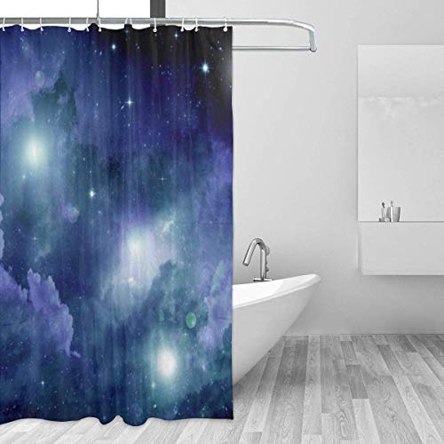 Cortina de la Ducha Galaxy Space Meteor Nebula FabricShower Curtain with 12 Polyresin Hooks,60x72 Inch