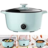 YYBF Electric Skillet, Multi-Cooker Ideal for Dormitory, Adjustable Heat Setting & Non-Stick Surface, with Glass Lid,Green