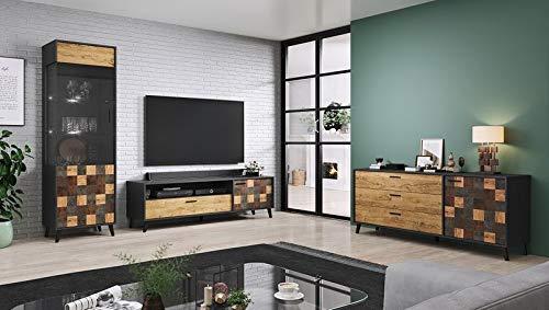 Jadella woonwand ' Sofia II' woonkamerkast antraciet TV wand alpine eiken televisiekast eiken hout decor