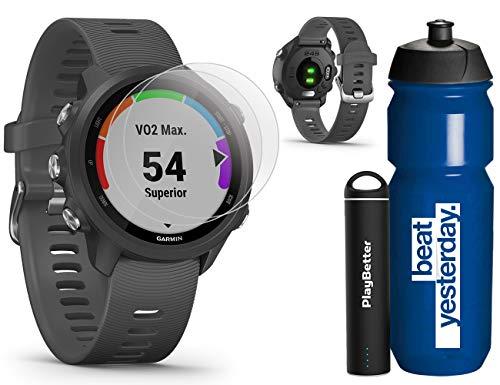 Garmin Forerunner 245 (Slate) Runner's Bundle | +Garmin Water Bottle, HD Screen Protectors & PlayBetter Portable Charger | Music & Spotify, PulseOx | Running GPS Watch | 010-02120-00
