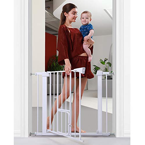 Cumbor 37.8' Auto Close Safety Baby Gate, Extra Tall Durable Dog Gate with Door, Easy Walk-Thru Child Gate for The House, Stairs, Doorways & Hallways. Includes 4 Wall Cups & (2) 2.75-Inch Extension