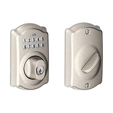 Schlage BE365VCAM619 Camelot Keypad Deadbolt, Satin Nickel