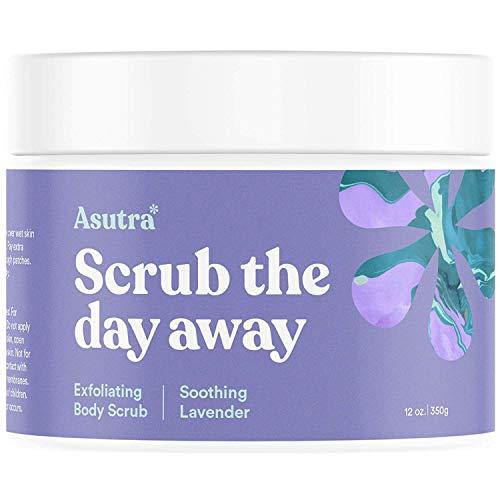 ASUTRA Dead Sea Salt Body Scrub Exfoliator (Soothing Lavender), 12 oz | Ultra Hydrating, Gentle, Moisturizing | All Natural & Organic Jojoba, Sweet Almond, Argan Oils