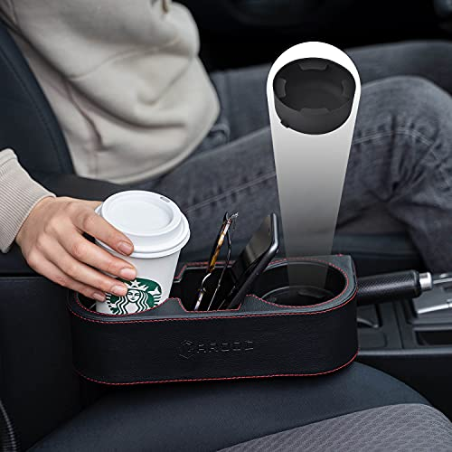 GAROOD Car Cup Holder Front Seat Gap Filler Organizer, Multifunctional Leather Expander for Drink Phone Mount Coasters, Back Seat and Couch Cupholder StorageBox FREE CUP STABILIZER (2 cup stabilizers)