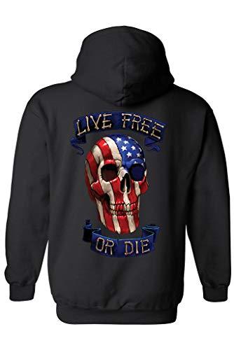 SHORE TRENDZ Unisex Zip Up Hoodie USA Flag Skull Live Free or Die: Black...