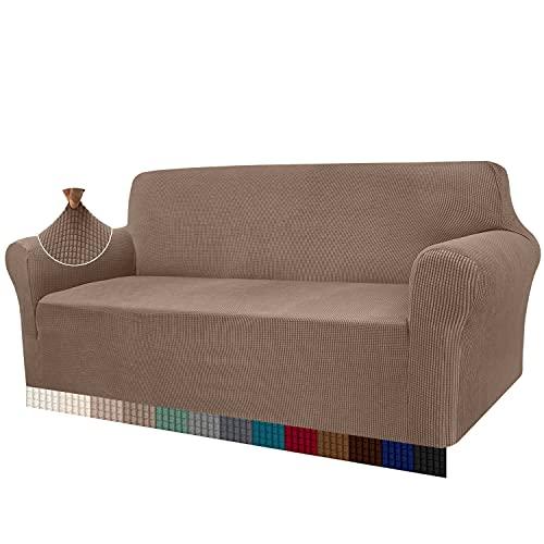 Granbest - Funda de sofá de Alta Elasticidad, diseño Moderno, Jacquard, para el salón, para Perros y Mascotas (3 plazas, Caqui)