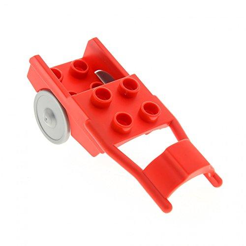 1 x Lego Duplo Pferde Anhänger rot Rad flat silber Pony Wagen Kutsche Karren Horse Drawn Cart Set 4974 4683 9239 6373c01