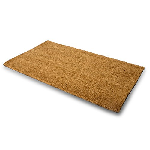 PLUS Haven Pure Coco Coir Doormat with Heavy-Duty PVC Backing - Natural - Size: 17-Inches x 30-Inches - Pile Height: 0.6-Inches - Perfect Color/Sizing for Outdoor/Indoor uses.