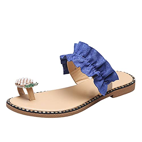 LXDWJ Zapatillas de Playa Planas de piña con Punta de Anillo Informal Estilo Bohemio Plano de Perlas de Moda para Mujer para Mujer Zapatos de Diapositivas (Color : Blue, Size : 40)