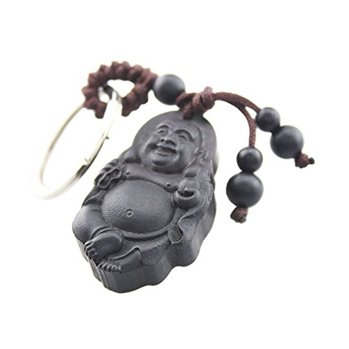 FOY-MALL Laughing Buddha Ebony Wood Carved Men Women Bag Key Ring for Good Luck M1094