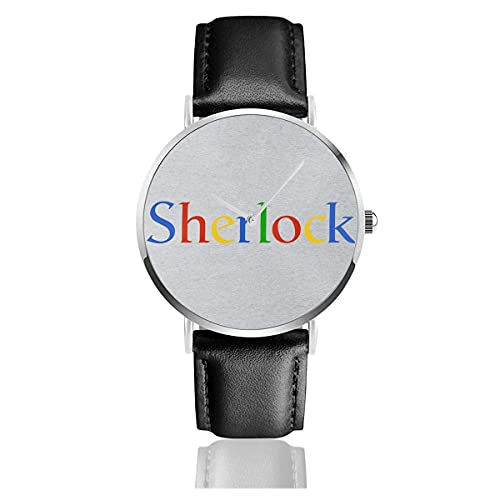 Orologi Quarzo Pelle Cinturino Nero Collezione Young Regalo Unisex Business Casual Sherlock Holmes Google