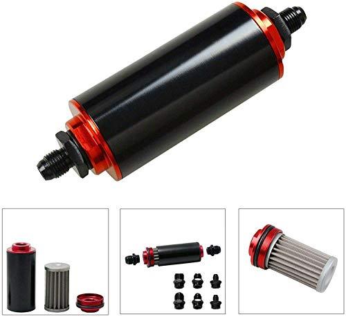 Hoher Durchfluss, 100 Mikron, reinigbar, AN6, AN8, AN10, universeller 50 mm, Aluminium-Kraftstofffilter, Schwarz und Rot