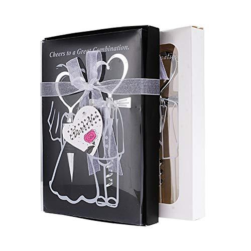 FLOWOW 2 scatole 2 in 1 a Forma di Cuore, Cavatappi e apribottiglie-Set Tappo per Bottiglia di Vino Tappo e cavatappo accaicio Matrimonio Sposo Sposa Cerimonia di Nozze Bomboniera Souvenir Regalo Set