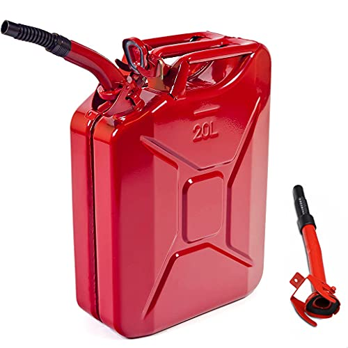 gas cans AMZOSS 20L 5 Gallon Metal Gas Can Red with Fuel Can and Spout System, US Standard Cold-Rolled Plate Petrol Diesel Can - Gasoline Bucket (18.3