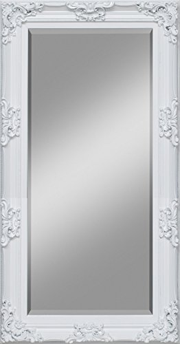 Wandspiegel houten lijst zilver barok antiek landhuis spiegel verschillende maten 100x180 wit