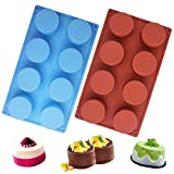 Sonku - Molde redondo de silicona con 8 cavidades, molde antiadherente para hacer chocolate, dulces, magdalenas, magdalenas, pudín y cubitos de hielo, color azul y rojo
