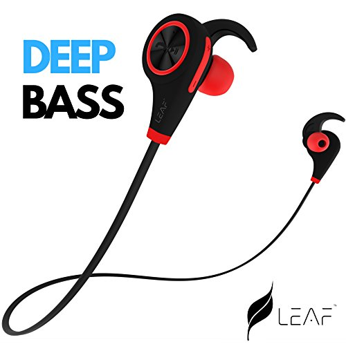 Leaf Ear Wireless Bluetooth Earphones with Mic || Sweatproof Earbuds || Best for Listening Music, Running, Gym || Passive Noise Cancellation || HD Stereo Sound Quality