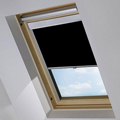 MCTECH Dachfenster Rollo Sonnenschutz Verdunkelung Thermorollo Jalousien Rollos (102, schwarz)