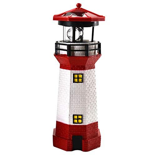 LED Solar Leuchtturm 28 cm Garten Deko Leuchtfeuer Rot Weiß Gartendeko Beleuchtung Mit Dämmerungssensor Solarbeleuchtung Gartendekoration