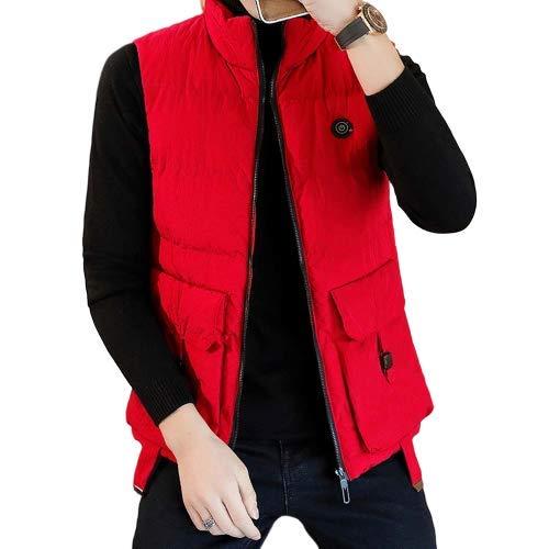 AUED Gilet Chauffant, Chauffage Gilet Chauffage Vêtements Chauds pour l'hiver Veste électrique Vêtements USB Chaud Casual Protection de Charge Froide, pour Hommes, Femmes,Rouge,XXXL
