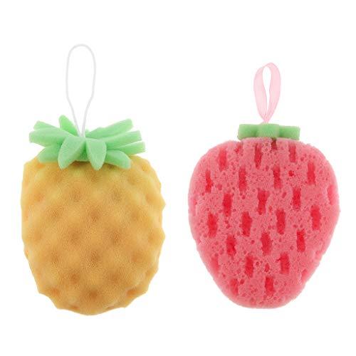 Bonarty 2pcs Doux Mignons Fruits Forme Bain Douche éponge Bouffant Corps Nettoyage Fo Enfants